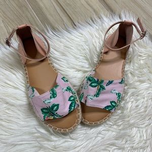 NEW Old Navy Pink Green Tropical Espadrille Sandal